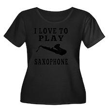 Saxophon Women's Plus Size Dark Scoop Neck T-Shirt