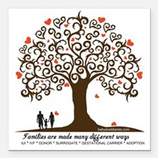 "Infertility Family Tree Square Car Magnet 3"" x 3"""