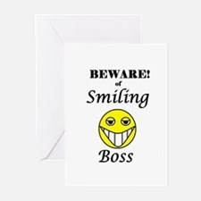 BEWARE OF SMILING BOSS Greeting Cards (Package of