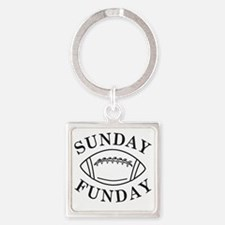 Sunday Funday Square Keychain