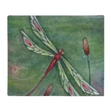 Green Dragonfly Throw Blanket