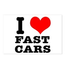 I Heart (Love) Fast Cars Postcards (Package of 8)