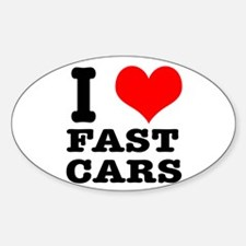 I Heart (Love) Fast Cars Oval Decal