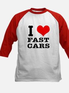 I Heart (Love) Fast Cars Kids Baseball Jersey