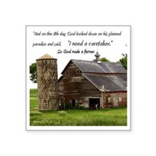 "God Made a Farmer Square Sticker 3"" x 3"""