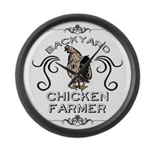Backyard Chicken Farmer Large Wall Clock