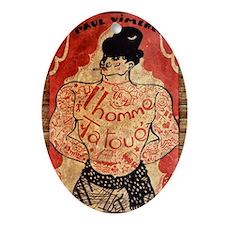 Vintage Tattoo Man Oval Ornament