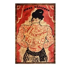 Vintage Tattoo Man Postcards (Package of 8)
