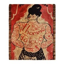 Vintage Tattoo Man Throw Blanket