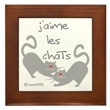 jaime les chats love cats french Framed Tile