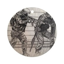 Police Tactics Round Ornament
