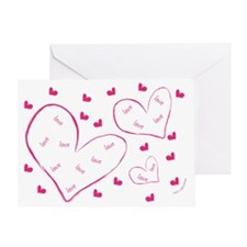 LOVE HEARTS - PINK Greeting Card