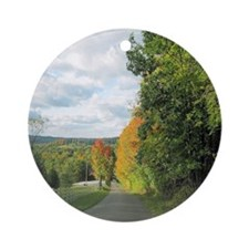 Autumn in Amish Country Round Ornament