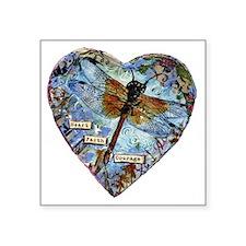 "heart faith courage Square Sticker 3"" x 3"""