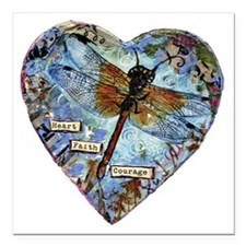 "heart faith courage Square Car Magnet 3"" x 3"""
