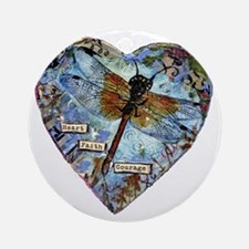 heart faith courage Round Ornament