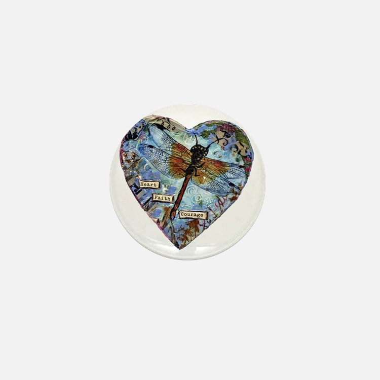 heart faith courage Mini Button