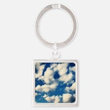 Fluffy Clouds Print Square Keychain