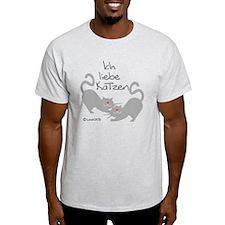 Ich liebe Katzen love cats German T-Shirt