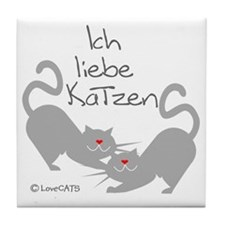 Ich liebe Katzen love cats German Tile Coaster