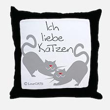 Ich liebe Katzen love cats German Throw Pillow