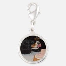 Cavalier King Charles Spaniel Silver Round Charm