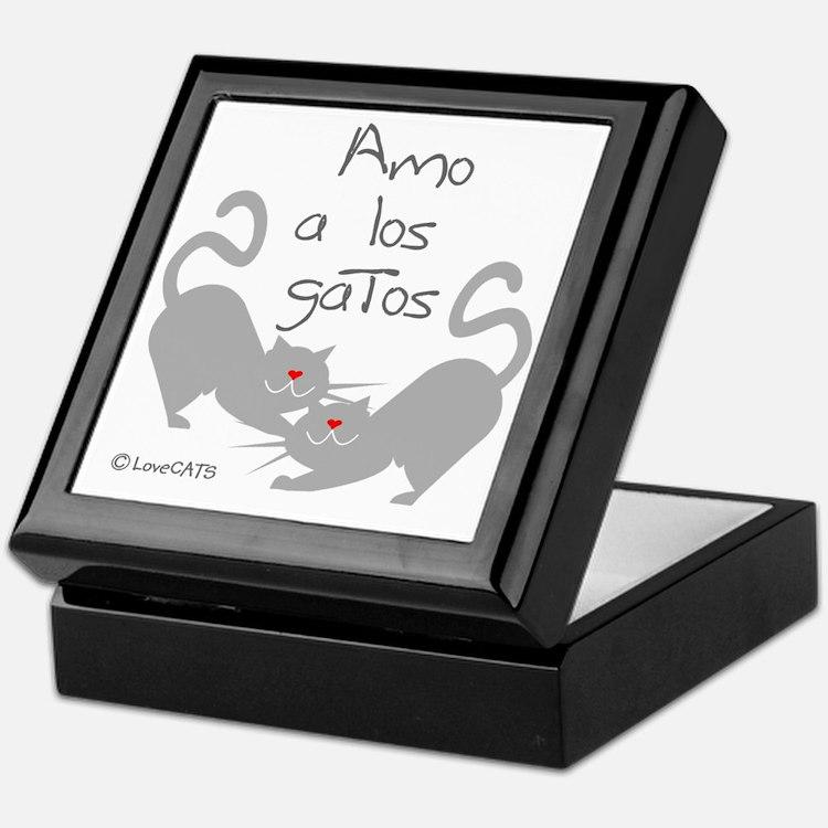 amo los gatos  love cats español span Keepsake Box