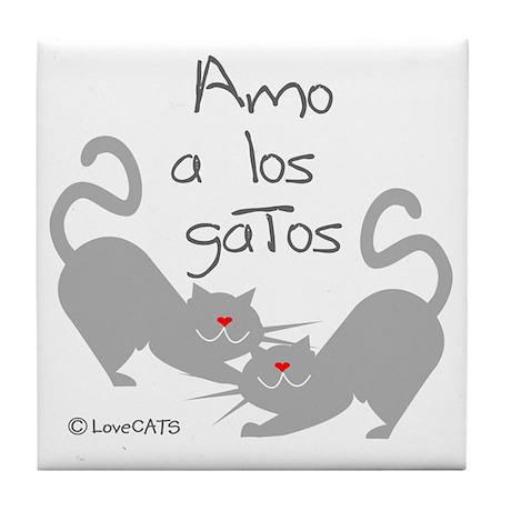 amo los gatos love cats español span Tile Coaster