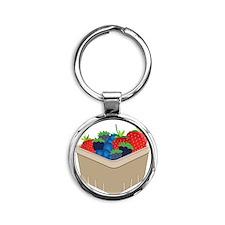 Mixed Berries Round Keychain