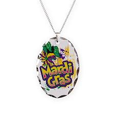 Mardi Gras Design C Necklace Oval Charm