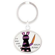 Ninja Bunny Oval Keychain