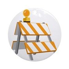 Construction Barrier Round Ornament