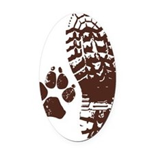 Hiking Boot n Paw Sticker Oval Car Magnet
