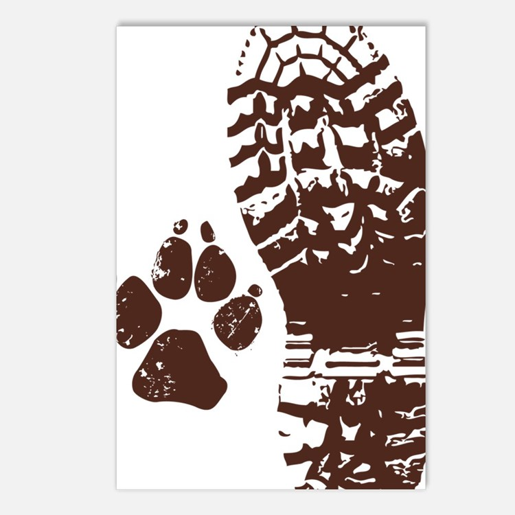 Hiking Boot n Paw Sticker Postcards (Package of 8)
