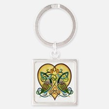 Celtic Birds in a Heart Square Keychain