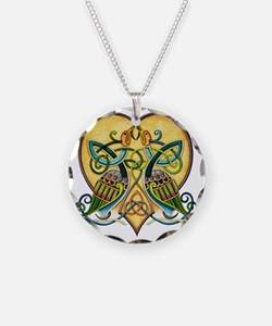 Celtic Birds in a Heart Necklace