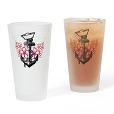 Anchor  Flowers Drinking Glass