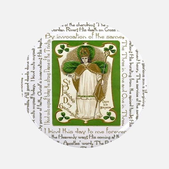 """St. Patricks Breastplate Square 3.5"""" Button"""