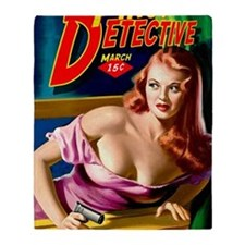 Pinup Detective Pulp Magazine Cover Throw Blanket