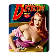 Pinup Detective Pulp Magazine Cover Mousepad