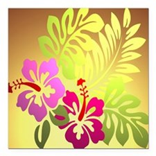 "tropical flower shower c Square Car Magnet 3"" x 3"""