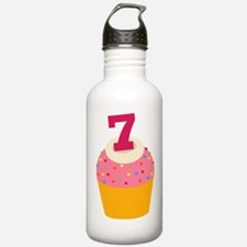 7th Birthday Cupcake Water Bottle
