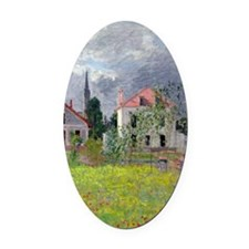 Monet - Houses at Argenteuil Oval Car Magnet