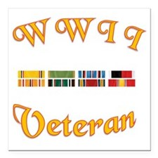 """WWII Veterans Large Coff Square Car Magnet 3"""" x 3"""""""