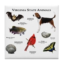 Virginia State Animals Tile Coaster