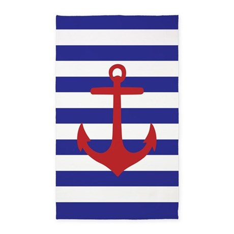 Red And Blue Anchor Stripe 3'X5' Area Rug