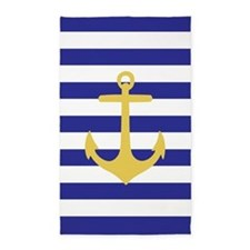 Blue And Yellow Anchor Stripe 3'X5' Area Rug