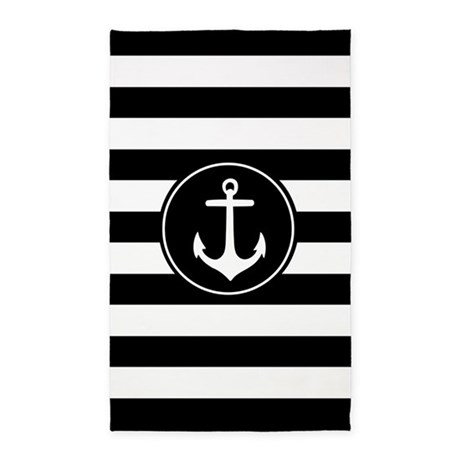 Black Nautical Anchor Stripes 3'X5' Area Rug
