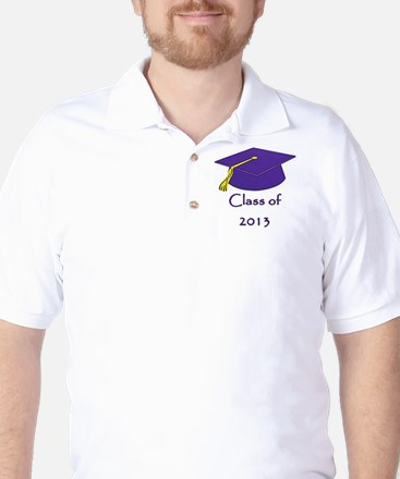 Class of 2013 Purple and Gold Cap Golf Shirt