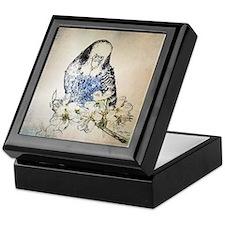 Parakeet 002 - Blue Parakeet on Branc Keepsake Box